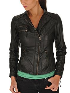 1c1048c620714 Leather4u Womens Lambskin Leather jacket LL945 L Black -- Check out this  great product.