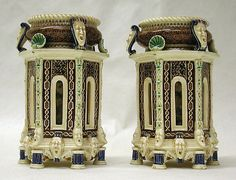 "MINTON(S) pair of master salts, Argenta-glazed majolica, 1870's, designed by Charles Toft, approximately 5-1/4"" H"