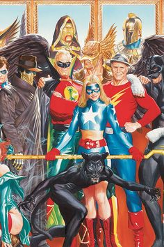 Comics and nothin' but — JSA cover by Alex Ross Marvel Comics, Arte Dc Comics, Hq Marvel, Alex Ross, Comic Book Characters, Comic Book Heroes, Comic Character, Comic Book Artists, Comic Artist