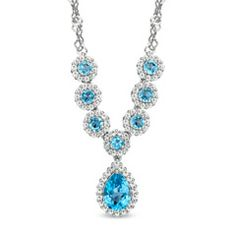 pear shape blue topaze and diamond cage | Pear-Shaped Swiss Blue Topaz and White Topaz Necklace in Sterling ...
