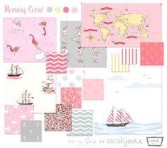 Look at this Out to Sea fabric from Sarah Jane Studios, in pink, grey and yellow. Maybe I can get my nautical baby room after all!