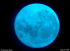 Blue Moon -The month of July 2004 has two full moons, which means one of them is a Blue Moon. But will it really be blue? Believe it or not, scientists say blue