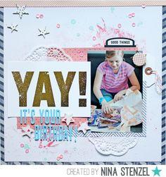 Mein Leben in Scraps: Yay! It´s your birthday! - Scrapbook Layout - Happy Scrappy Friends Online-Crop