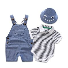 Newborn Baby Clothing Set for Boys Summer Suit Set Hat+Striped Romper+Blue Overall Suit Casual Children Boy Clothes Outfit Newborn Baby Clothing Set for Boys Summer Suit Set Hat+Striped Romper+ – eosegal - Cute Adorable Baby Outfits Newborn Fashion, Baby Boy Fashion, Baby Outfits Newborn, Toddler Fashion, Kids Fashion, Baby Newborn, Fashion Clothes, Trendy Fashion, Cute Baby Boy Outfits