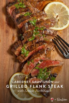 recipe for herbed steak and a wine pairing of Washington State Cabernet blend.