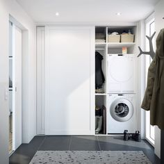 Inspiration til dit nye bryggers House, Sliding Wardrobe Doors, Home, Apartment Life, Laundry Room Design, Tiny House Laundry, Apartment Inspiration, Small Rooms, Ikea Sliding Door