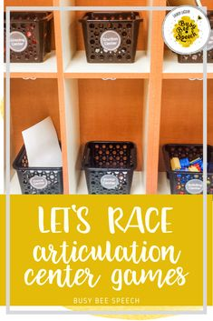 Articulation therapy materials to get centers (or stations) up and running in your speech room.  5 different articulation centers with a fun racing theme.