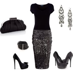 Classic #black #shirt #silver #skirt #glitter #pumps #purse #outfit #party #holiday #Christmas #new years