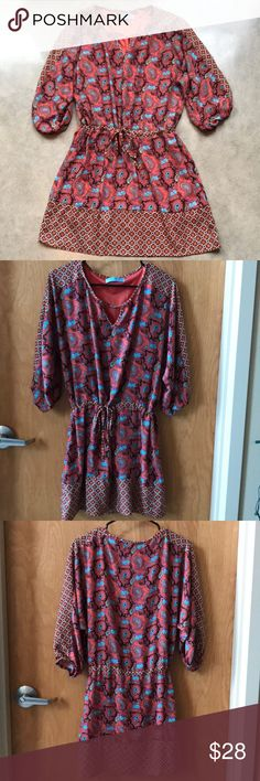 Francesca's Collections Paisley Dina Be Dress Gently worn, excellent condition! Ties at waist, approximately 34 inches in length. Francesca's Collections Dresses