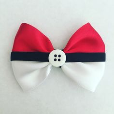 Pokéball hair bow #pokemon www.facebook.com/JaimesHairBowtique