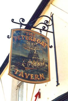 This pub in Leigh-on-Sea us named after the peterboat - a type of fishing boat used mostly in the Thames Estuary where the river flows into the North Sea Nautical Outfits, Nautical Clothing, Metal Signage, Storefront Signs, Nautical Signs, Leigh On Sea, Old Pub, British Pub, Seaside Village