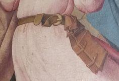 """Detail Zwei Flügel eines Marienaltars """"Pfingsten"""" und """"Marientod"""" Franken, um 1490 Medieval Belt, Medieval Books, Medieval Life, Medieval Clothing, Voynich Manuscript, Medieval Manuscript, Old Books, Antique Books, 15th Century Clothing"""