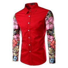 Stylish Turn-Down Collar Floral Print Spliced Long Sleeve Men's Shirt Floral Shirt Dress, Dress Shirts, Men's Shirts, Online Discount Stores, Wear Store, Collar Styles, Types Of Shirts, Casual Shirts, Long Sleeve Shirts