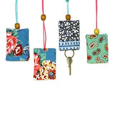 Key cosy in Kashmir Gardens denim — sarah campbell designs Sarah Campbell, Michael Miller Fabric, Wind Chimes, Cosy, Gardens, Hand Painted, Pure Products, Christmas Ornaments, Dekoration