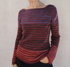 Stripes Ahoy! Tailored pullover with high, wide (think boatneck) neckline. Stripe it any way you want.