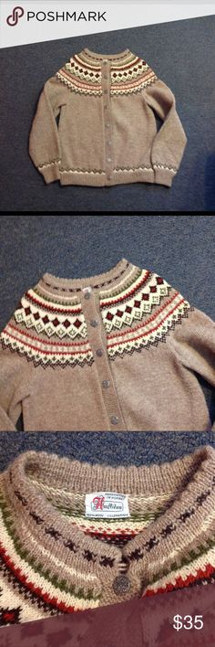 """Vintage Wool Nordic Fair Isle Sweater S Very pretty vintage sweater. Nordic style button up. Made of 100% wool in Norway. Great condition. Seems to fit a small. Chest 18"""" across - length 22 1/2"""" Vintage Sweaters Cardigans"""