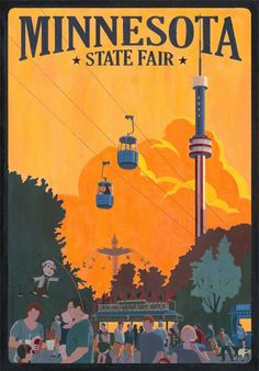 Cool Vintage Travel Prints - Minnesota State Fair-soo much fun! Yummy food and lots to see and do. Minnesota State Fair, Minnesota Home, Feeling Minnesota, Bemidji Minnesota, Minnesota Funny, Stillwater Minnesota, Minnesota Wild, Minneapolis Minnesota, Minnesota Vikings