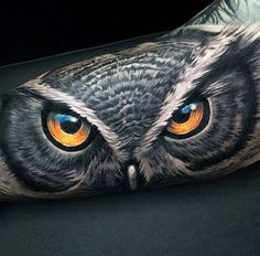 Realism style colored forearm tattoo of detailed owl look