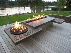 diy fire pit ideas and tutorials for your backyard include diy fire pit ideas patio Outdoor Fire Table, Fire Pit Table, Diy Fire Pit, Fire Pit Backyard, Fire Pits, Concrete Patios, Backyard Patio Designs, Backyard Landscaping, Outdoor Fireplace Designs