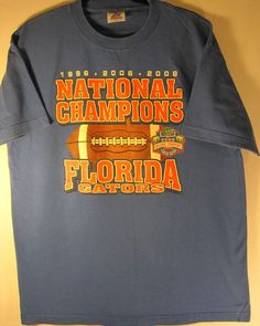 Vtg Florida National Champions men graphic t shirt, size large, blue. #Florida #GraphicTee