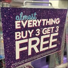 This Almost Everything BOGO, Buy 3 Get 3 Free Sign Arm hosts an impressive offer with only very minor limitations in-store. Store Fixtures, Free Sign, Buy One Get One, Accessories Store, Pos, Everything, Signs, Stuff To Buy, Shop Fittings