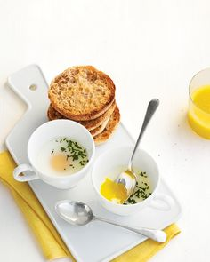 Coddled Eggs in Teacups   Whole Living - this is our favorite way to have eggs!  we have them this way at least once a week. Yum!
