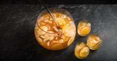 Charter Punch with apple brandy, sherry, apple cider, ginger beer, soda water, muddled sugar and citrus peels.