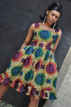 Multi coloured African fit and flared print dress with deep