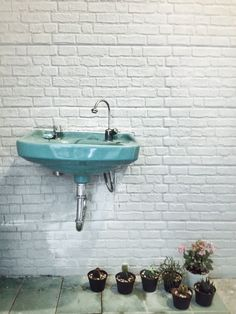 Have a beautiful day. //art, artistic, plumbing, flower, cactus, wall, brick, white, wastafel, design, decoration, room, toilet//