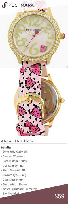 Betsey Johnson Watermelon Watch YUM This Item Is Brand New With Tags And Never Worn  🌹  Betsey Johnson Watermelon Watch 🍉 Blinged Out Gold Bezel With Crystals 💎 Pink Band With Watermelon and Hearts 💜 Brand New 😎 Still Attached in Box, Never Removed 👍  Be Sure To Check Out The Rest of My Listings For Additional Betsey Johnson Watches Jewlery Back Packs Wallets purses clothing shoes and bras 😙   ✔ BUNDLE UP FOR SAVINGS  ✔ Betsey Johnson Accessories Watches
