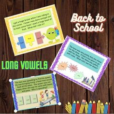 Improve reading comprehension and phonics all in one.  These activities focus on  long vowels and phonics.  Their are reading comprehension questions for each reading passage.  Great for back to school with 100 passages included.