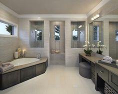 "Houzz  bathtub surround"" ""area and bathtub in the corner"" ""doors as bathtub cover?"" ""oversized bathroom mirror"" ""objects on bathtub...oversized bathtub...corner bathtub...soaking bathtub"""