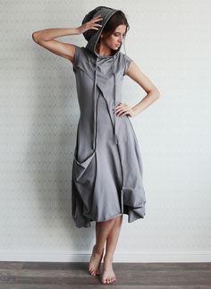 """Купить Платье """"Купол - Между небом и морем"""" с короткими рукавами - серый, трикотаж, трикотажное платье"""