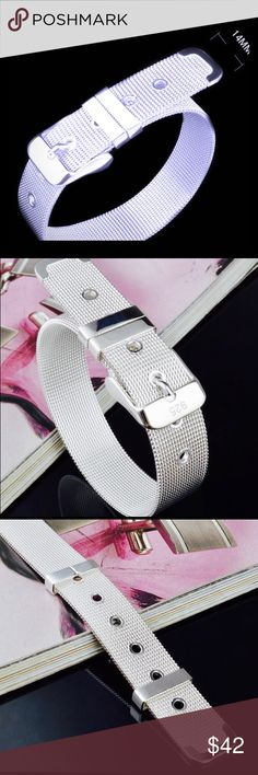 """Wide Silver Belt Bracelet Fully adjustable just like a belt.  This listing is for the wider bracelet, the larger of the two.  6.5"""" at its smallest -7.25"""" at its longest.  NEVER BEEN WORN Jewelry Bracelets"""