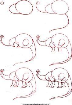 Hace poco encontré una seria de imágenes con instrucciones paso a paso para dibujos diferentes dinosaurios. Este es un material que puede s...