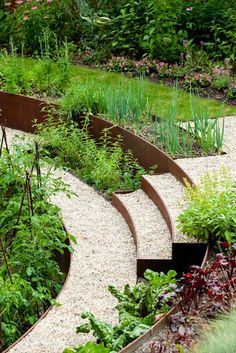 Cor-Ten steel forms the garden's walls and stairs—and alludes to the iron-mining heritage of the surrounding land. Mint, chives, chard, and tomatoes fill discreet stepped beds.