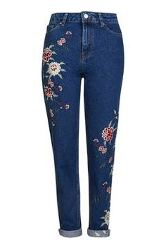 MOTO Dark Blue Embroidered Mom Jeans