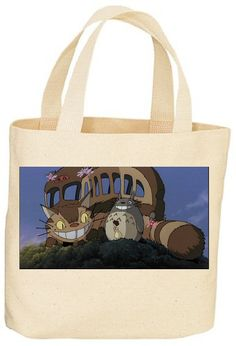 Custom Totoro Cat bus tote bag by GiveMeTheOlive on Etsy