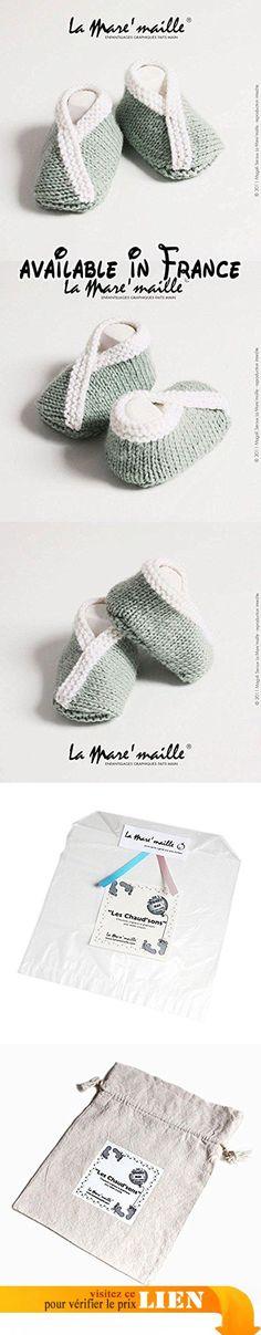 Chaussons bébé laine vert clair et blanc tricotés main La Mare'maille.  #Guild Product #GUILD_BABY