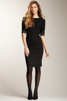 05998ead1d3 Magaschoni Stretch Wool Crepe Sheath Dress Kurvige Outfits