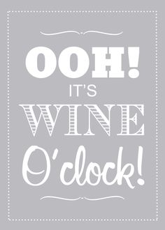 Kitchen Print, Wine Lover, Typography Poster, Its Wine OClock, Customize Colors. $20.00, via Etsy.