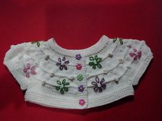 Ravelry: Scattered Daisies pattern by Allison Britt Knitting For Kids, Crochet For Kids, Baby Knitting Patterns, Knitting Designs, Crochet Baby Jacket, Knit Crochet, Brei Baby, Baby Couture, Collars
