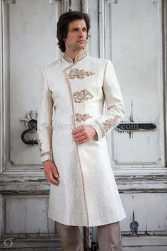 Ivory gold brocade silk asymmetrical sherwani with gold and antique gold jardosi embroidery Wedding Men, Wedding Suits, Saris, Indian Groom Wear, Western Suits, Wedding Sherwani, Indian Fashion, Male Fashion, Indian Wedding Outfits