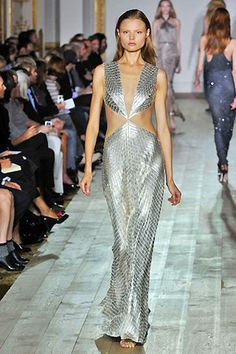 Long silver dress. Designer dress.