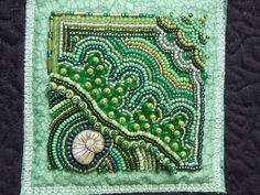 Green Block bead embroidery