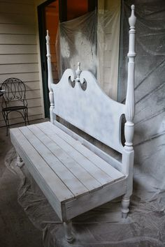 If you have an old headboard you are no longer using then why not make a bench out of it. I am remaking my porch and you can read more about it here. One Room Challenge - Week Four - Porch   Home and Lifestyle Design