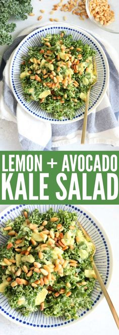The best kale salad ever!! The avocado, lemon, and pine nuts add such a nice touch and it's so easy! I'm telling you, this is your new favorite salad! thetoastedpinenut.com #salad #lowcarb #glutenfree #paleo #vegan