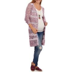 Faded Glory Maternity Pointelle Cardigan, Size: 2XL, Red
