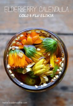 An Elderberry and Calendula Cold & Flu ElixirRead more about these incredible herbs and find the recipe here » http://www.trevorellestad.com/herbal-remedies-tips-and-links-vol-2/ | herbology, herbalism, healing plants, herbal medicine