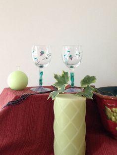 Grape vine wine glasses by emyliastone on Etsy, $35.00